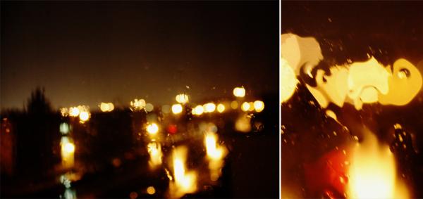 rainy night at the window