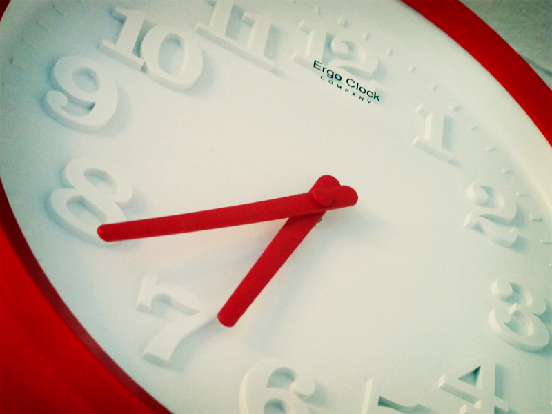 red and white clock details