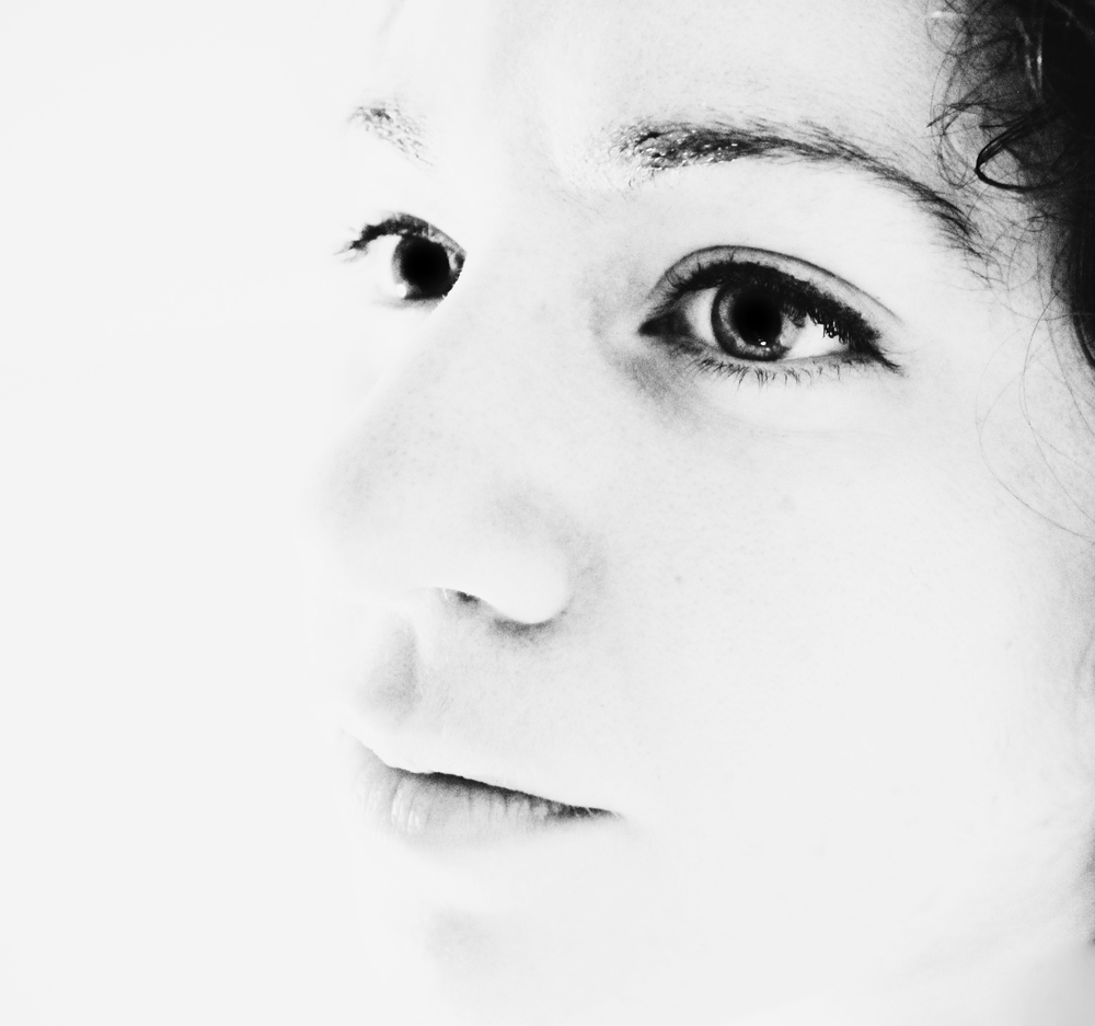 close up black and white self portrait
