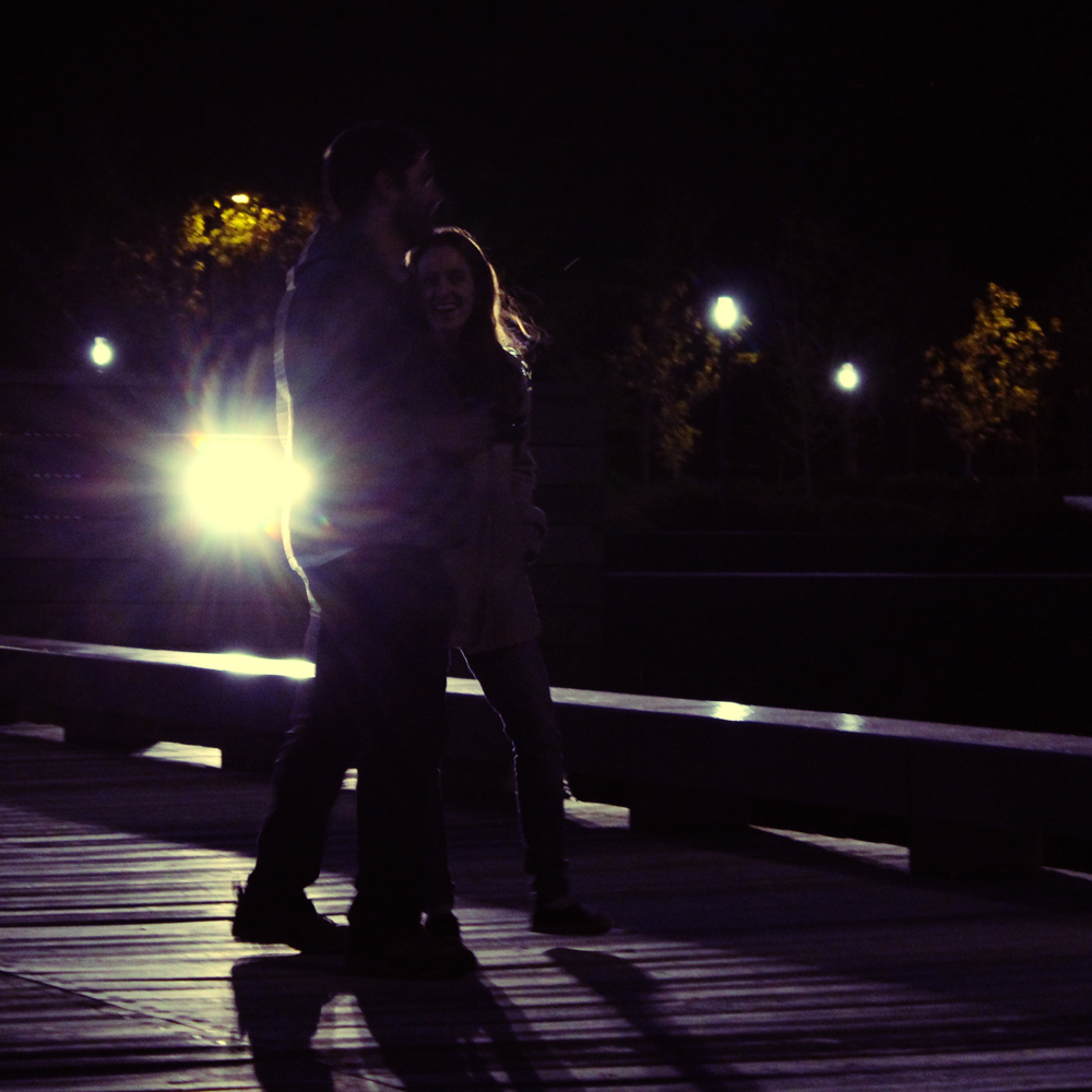 lovers walking by night