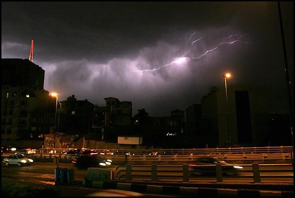 Lightning strikes over Tehran