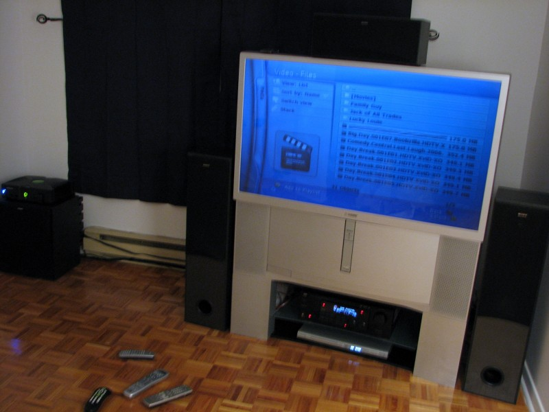 tv screen with a modded xbox