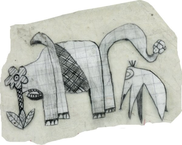 small cut-out elefant like creatures