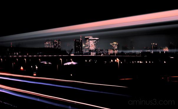 tokyo cityscape train night