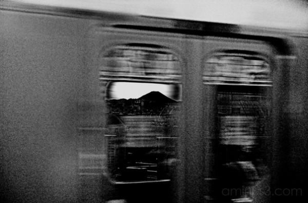 mt fuji, japan, view through a train