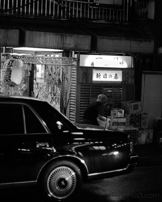 car, old woman, night, tokyo, ginza