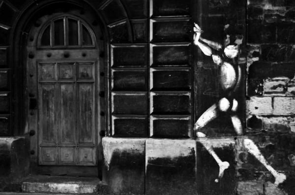 paris night wall door