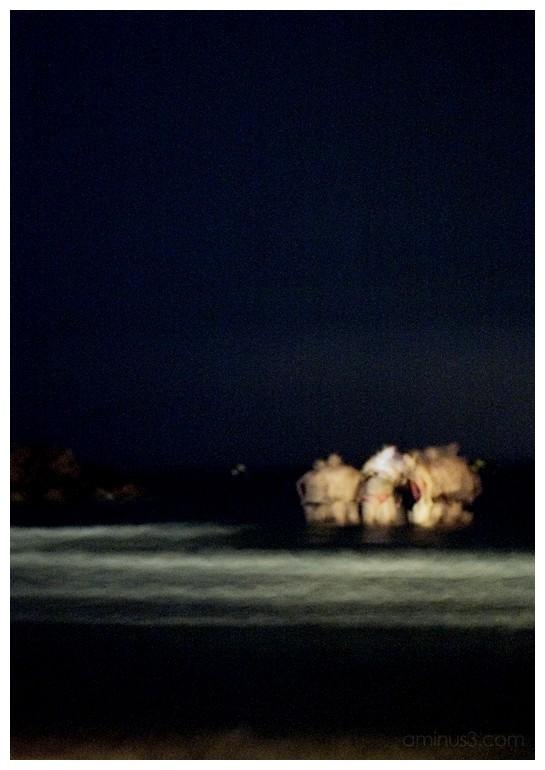 Midnight bath in Mediterranean Sea Agde France
