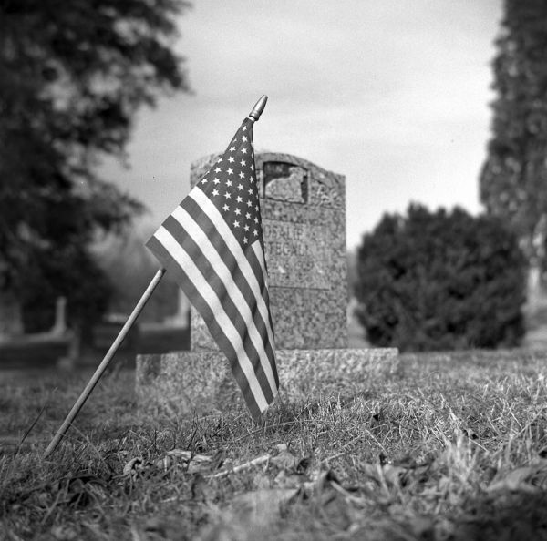Flag and grave