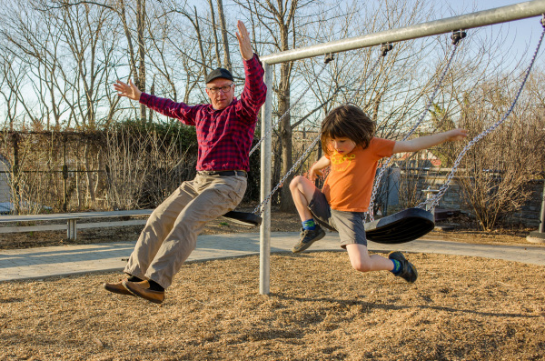 Jumping off the swing with Grandpa