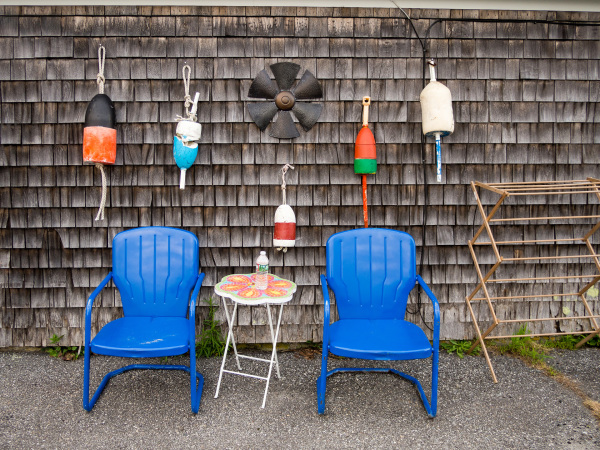 Blue chairs, Georgetown, ME