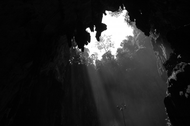 sunlight pouring into cave