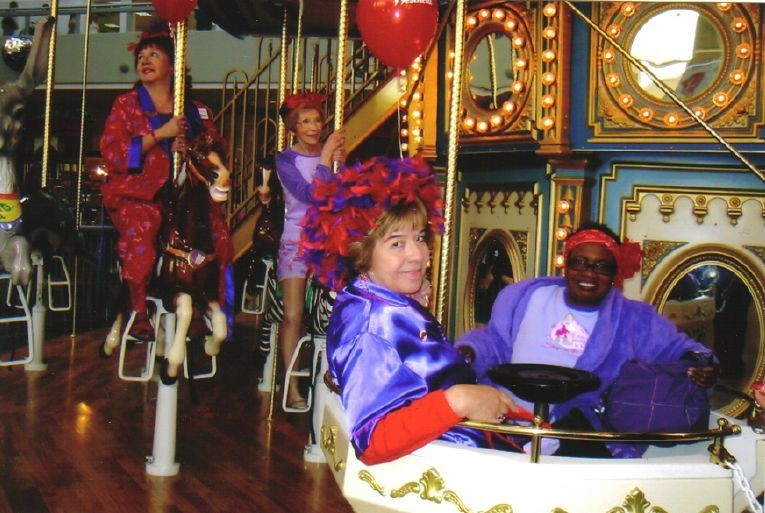 Anita, Connie and Maria on Merry-Go-Round