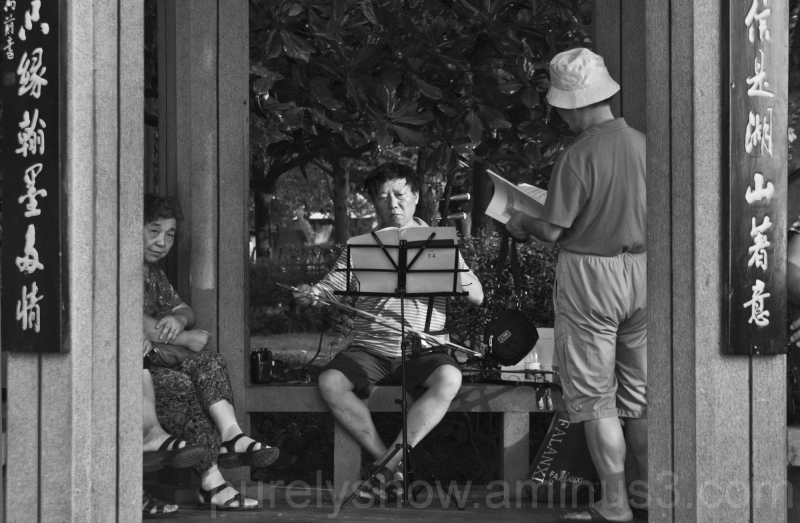 musician playing at West Lake Hangzhou