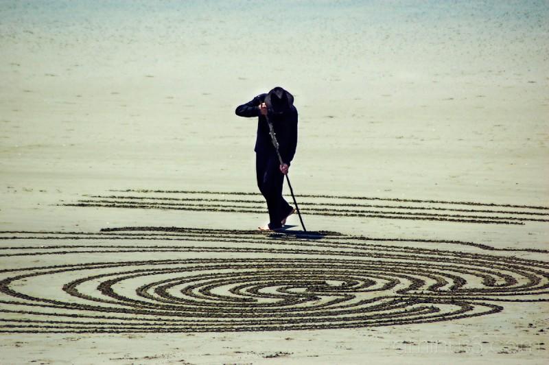 Beach artist spirals