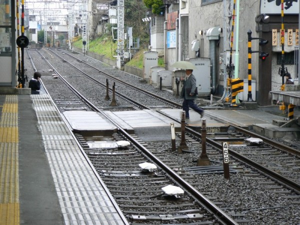 Rainy rail crossing