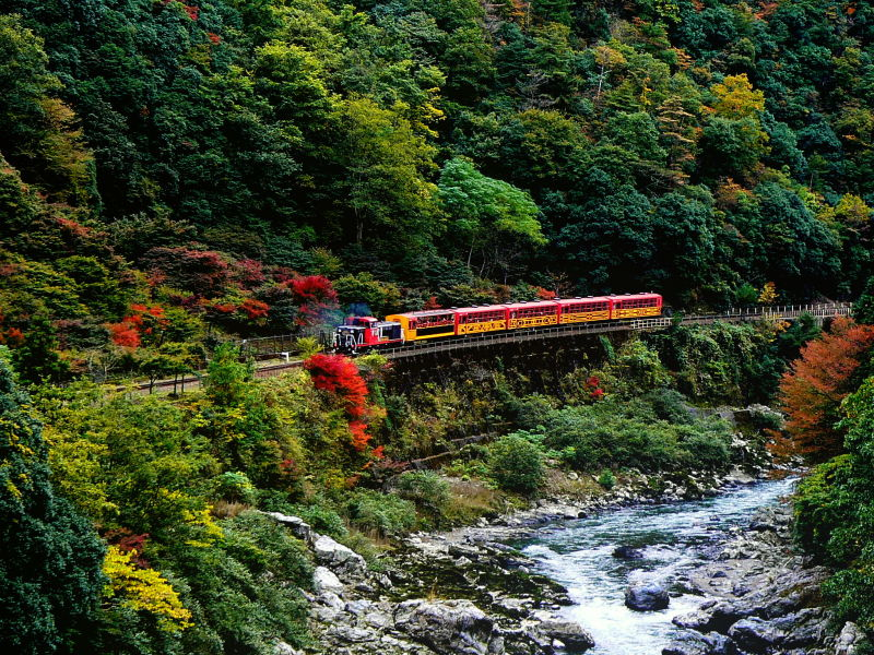 'Romantic train' at Arashiyama