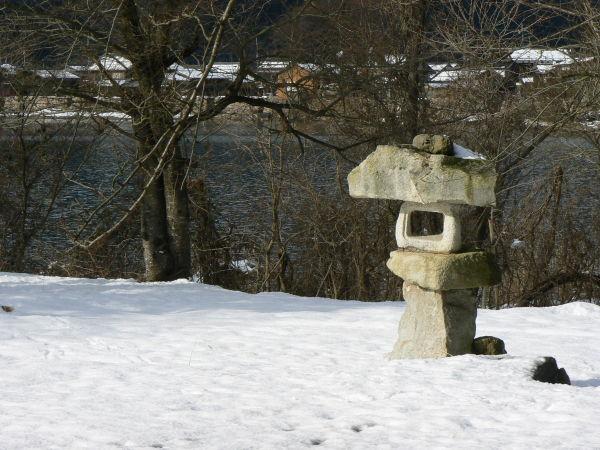 Stone lantern in the snow