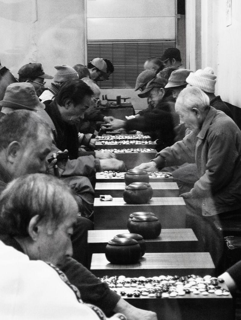 elderly Japanese play shogi and go