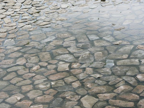 Water over paving stones