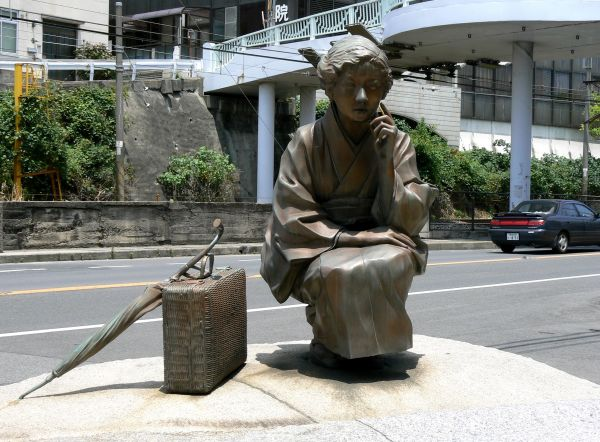 Statue of a famous Japanese writer