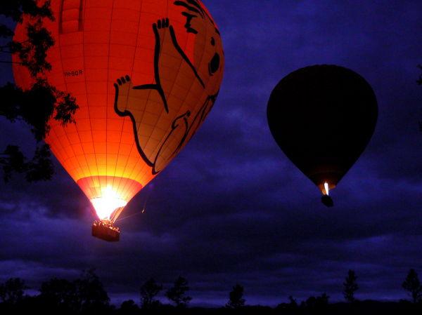 Hot air balloons take off