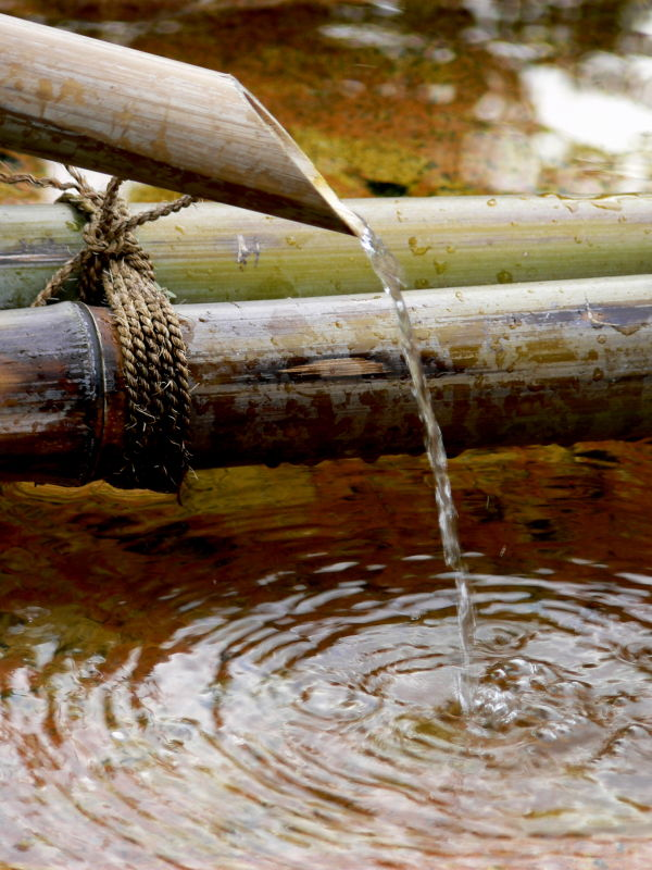 Bamboo water-spout at Gango-ji Temple in Nara