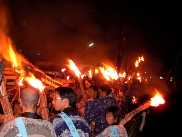 Flaming torches at Kurama Fire Festival in Japan