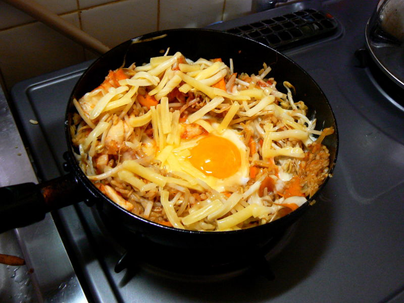 kimchi fried ried rice in a frypan