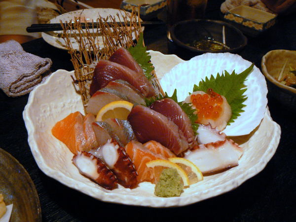 Plate of sashimi at a Japanese restaurant