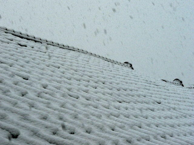 Japanese roof tiles covered by snow