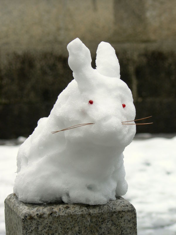 Small rabbit made of snow