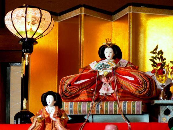 Japanese princess doll in layered kimono
