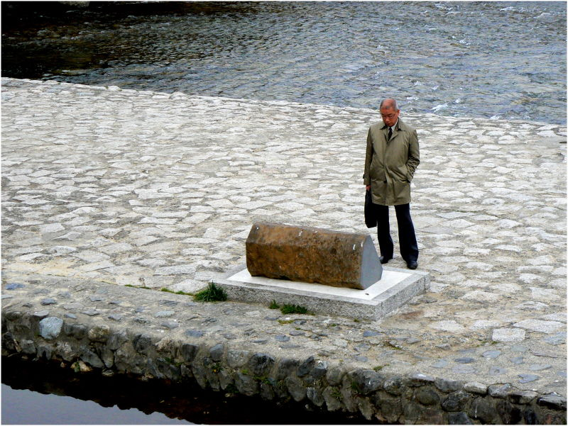 Man standing beside Kamo river