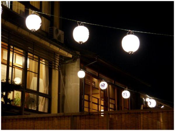 Lanterns on an outdoor restaurant