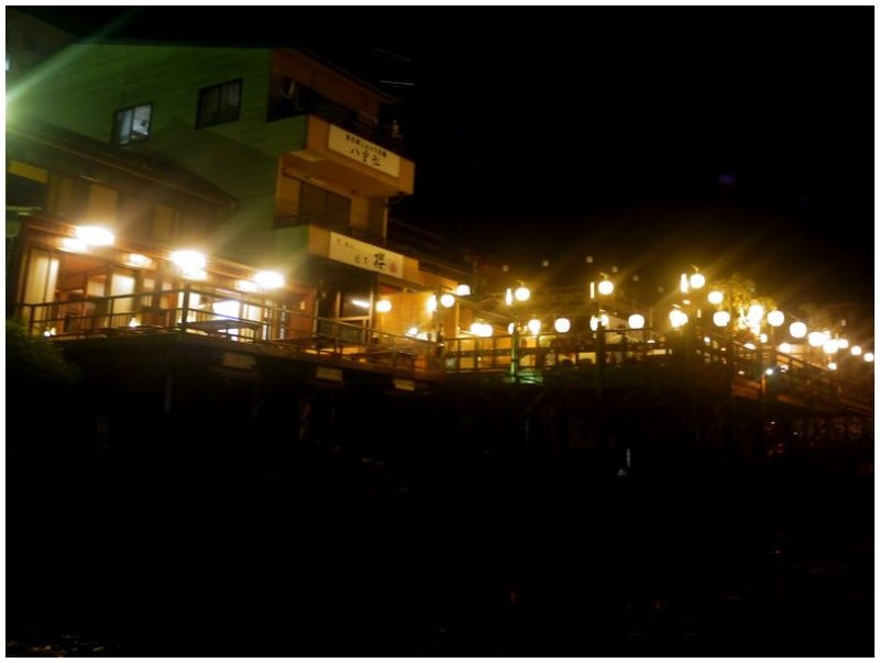 Lanterns on restaurant decks at night
