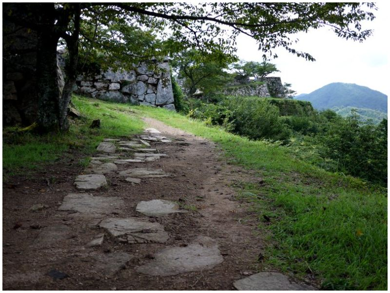 Path around the walls at Takeda Castle ruins