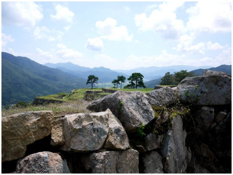 stone wall at Takeda Castle ruins