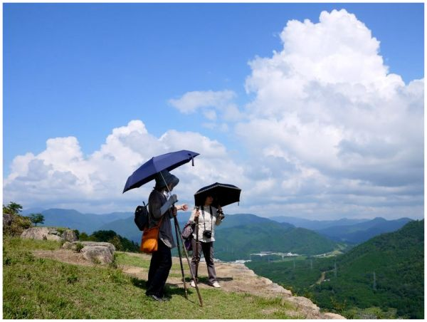 Women enjoying the view from Takeda Castle ruins