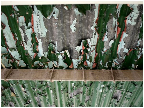 Layers of paint flaking