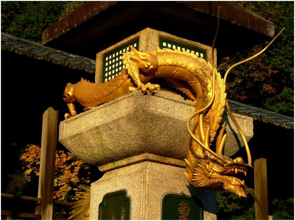 Golden dragon at a Japanese temple