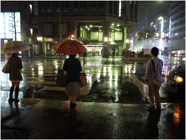 People with umbrellas at crossing on rainy night
