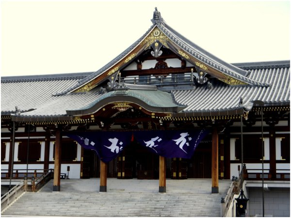 Japanese temple with curtains blowing in the wind