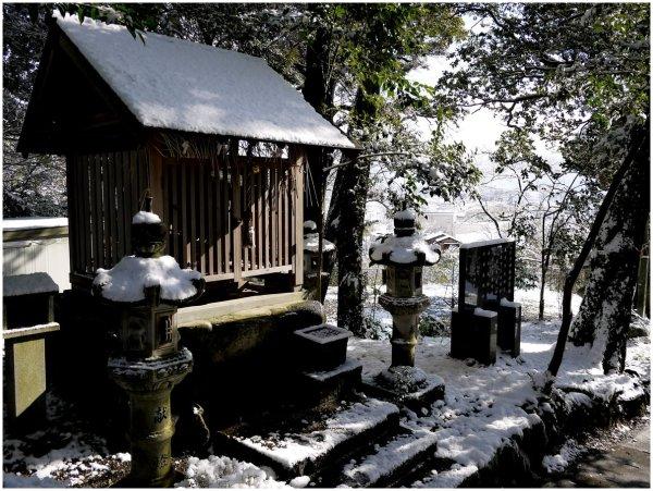 Japanese shrine in snow