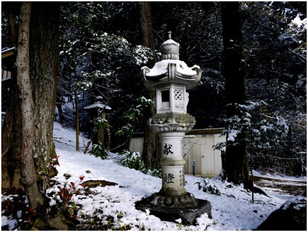 Japanese stone lantern in snow