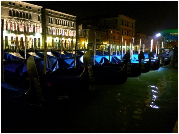 Gondolas moored for the night