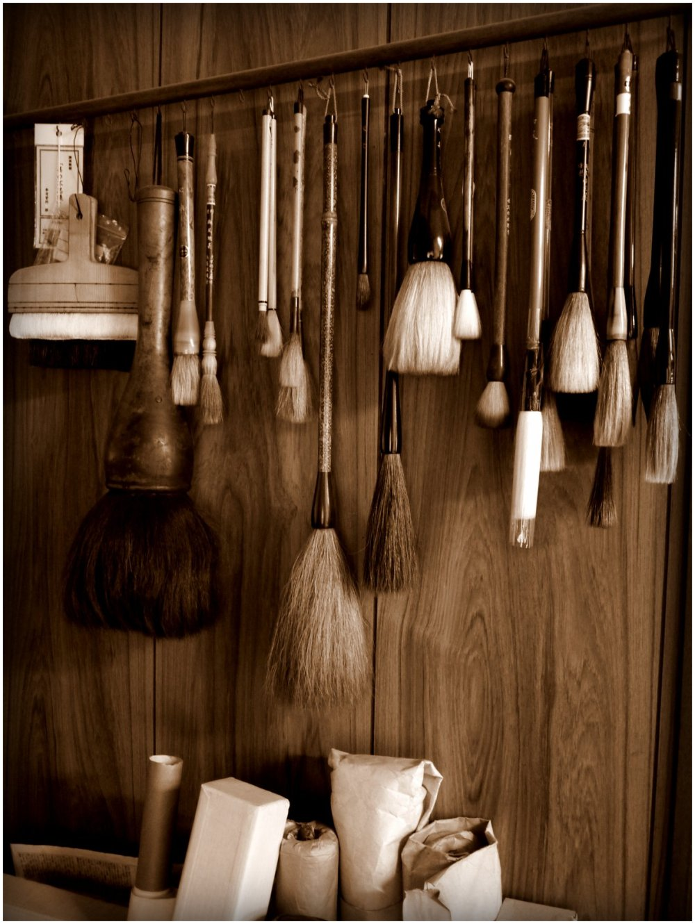 Brushes in a calligraphy studio