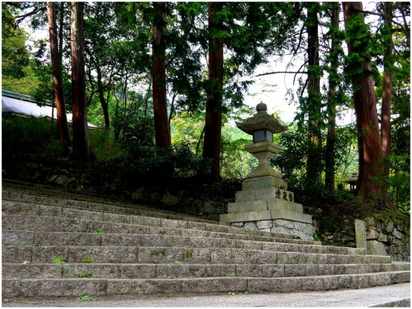 Temple steps with stone lantern