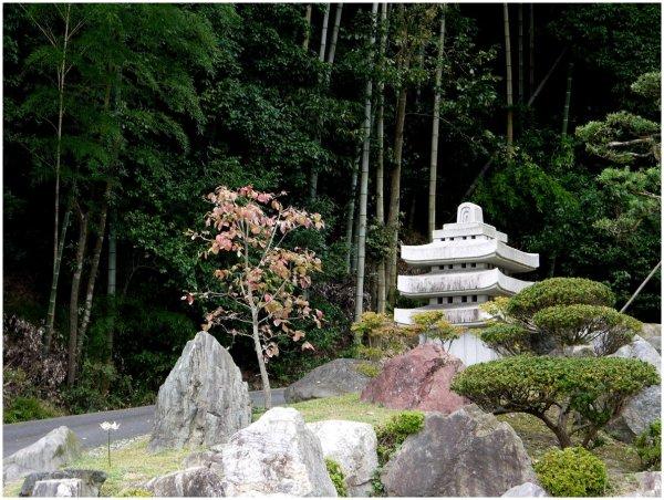 Stone pagoda and bamboo