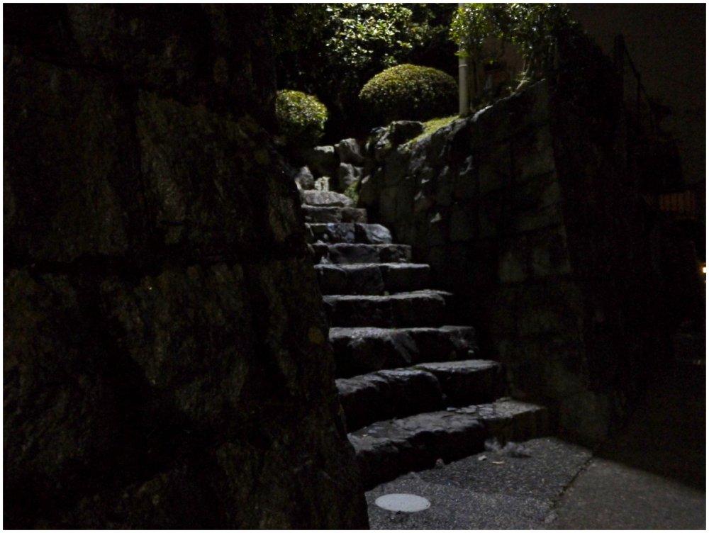 Stone steps at night